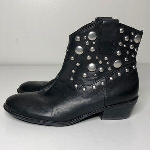 Franco Sarto Vegas Ankle Boots Studded 6 Black